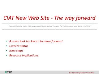 CIAT New Web Site - The way forward