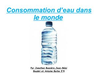 Consommation d'eau dans le monde