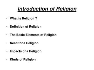 Introduction of Religion