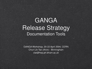 GANGA Release Strategy Documentation Tools