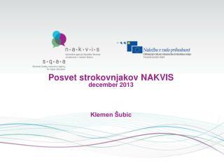 Posvet strokovnjakov NAKVIS december 2013 Klemen Šubic