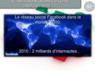 Le r seau social Facebook dans le monde, 2010.