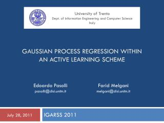 GAUSSIAN PROCESS REGRESSION WITHIN AN ACTIVE LEARNING SCHEME