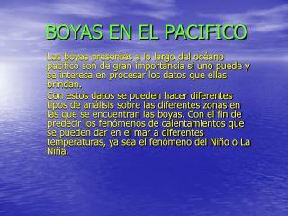 BOYAS EN EL PACIFICO