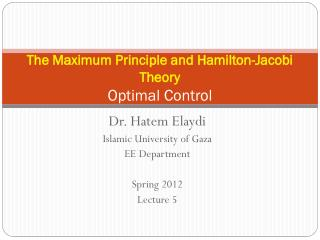 The Maximum Principle and Hamilton-Jacobi Theory Optimal  Control
