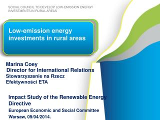 Low-emission energy investments in rural areas