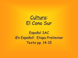 Cultura :  El Cono Sur