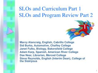 SLOs and Curriculum Part 1 SLOs and Program Review Part 2