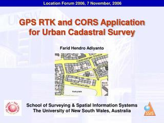 GPS RTK and CORS Application for Urban Cadastral Survey