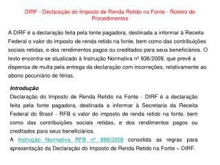 DIRF - Declaração do Imposto de Renda Retido na Fonte - Roteiro de Procedimentos