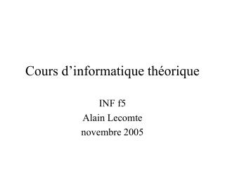 Cours d'informatique théorique