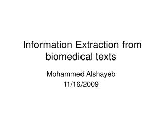 Information Extraction from biomedical texts