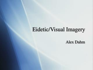 Eidetic/Visual Imagery