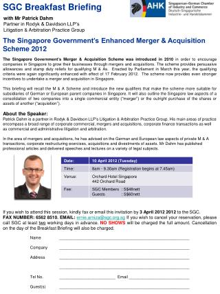 The Singapore Government's Enhanced Merger & Acquisition Scheme 2012
