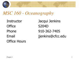 MSC 160 - Oceanography