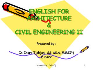 ENGLISH FOR ARCHITECTURE  &  CIVIL ENGINEERING II