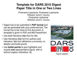 Template for DARS 2010 Digest  Paper Title in One or Two Lines