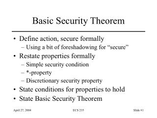Basic Security Theorem