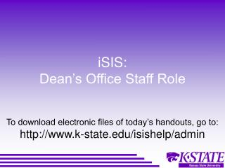 iSIS: Dean's Office Staff Role