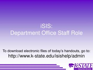 iSIS: Department Office Staff Role