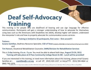 Deaf Self Advocacy Training
