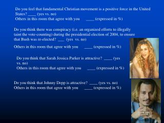 Do you think that Sarah Jessica Parker is attractive?  ____ (yes vs. no)