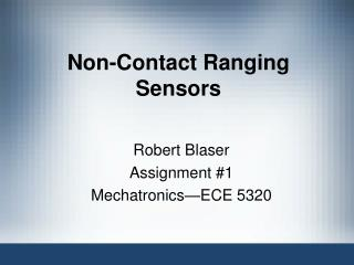 Non-Contact Ranging Sensors