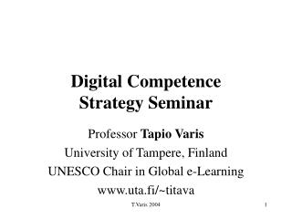 Digital Competence  Strategy Seminar
