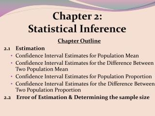 Chapter 2:  Statistical Inference