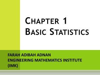 Chapter 1 Basic Statistics