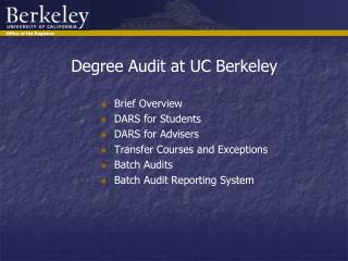 Degree Audit at UC Berkeley
