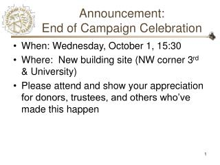Announcement: End of Campaign Celebration
