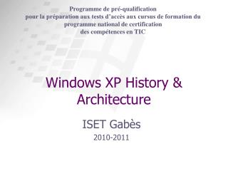 Windows XP History & Architecture