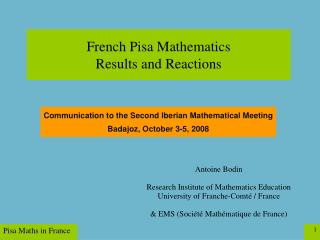 French Pisa Mathematics  Results and Reactions