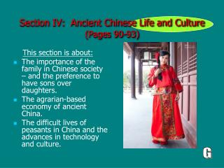 Section IV:  Ancient Chinese Life and Culture (Pages 90-93)