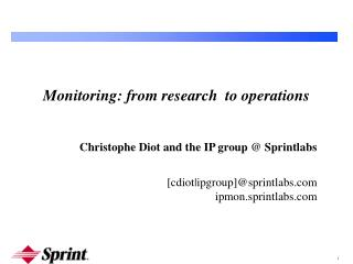 Monitoring: from research  to operations