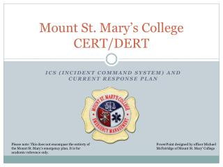 Mount St. Mary's College CERT/DERT