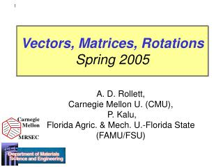 Vectors, Matrices, Rotations Spring 2005