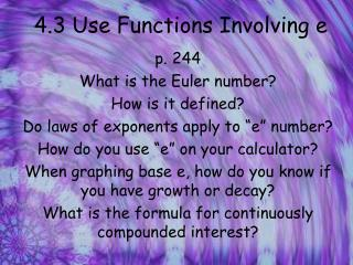 4.3 Use Functions Involving e