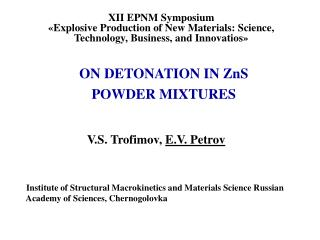 ON DETONATION IN ZnS POWDER MIXTURES