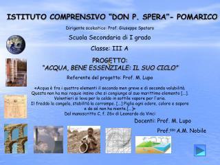 """ISTITUTO COMPRENSIVO """"DON P. SPERA""""- POMARICO"""