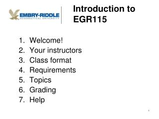 Introduction to EGR115