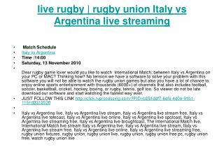 live live rugby | rugby union Italy vs Argentina live stream