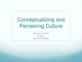 Conceptualizing and Perceiving Culture