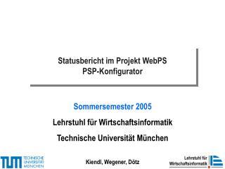 Statusbericht im Projekt WebPS PSP-Konfigurator