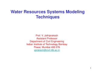 Water Resources Systems Modeling Techniques