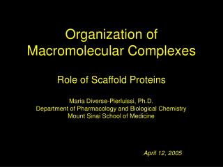 Organization of Macromolecular Complexes