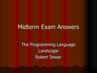 Midterm Exam Answers