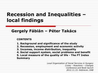 Recession and Inequalities  –  local findings