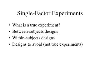 Single-Factor Experiments